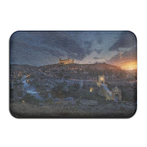 YUYU Sunset Evening Juan Pablo De Miguelcity ScapeToledo Spain Castle Brid Geold Building Old Bridge River Clouds Lights Dining Room White Memory Foam Bathroom Mat 16x24 Inch Customized Artwork Print by YUYU