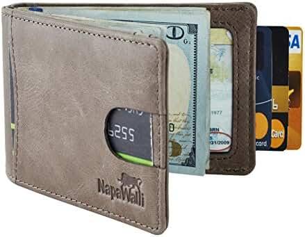 NapaWalli RFID Blocking Bifold Slim Genuine Leather Thin Minimalist Front Pocket Wallets for Men Money Clip Made From Full Grain Leather