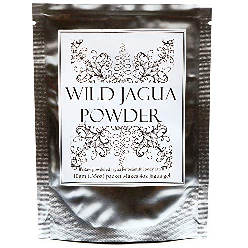 Black 4 Ounce Powder - Premium Raw Jagua (Genipa americana extract) Powder-Mix. Makes 4oz Black Gel Ink for Henna-Style Temporary Tattoos