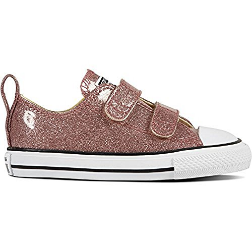 Converse Girls Chuck Taylor All Star Velcro Oxford, Rose Gold/Natural/Gold, 7