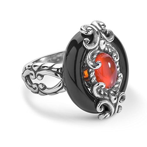 925 Silver Black Agate & Red Carnelian Ring - Size 7 ()