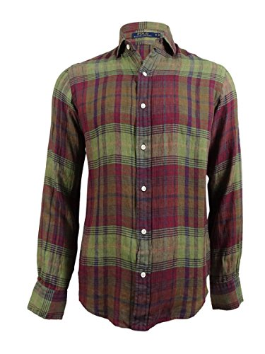 Polo Ralph Lauren Men's Plaid Linen Sport Shirt (M, - Online Lauren Ralph Outlet