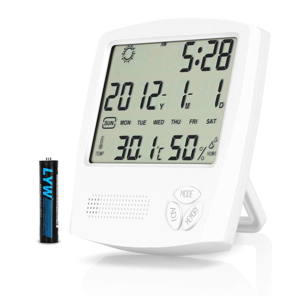 Foluu Digital Hygrometer Thermometer, Indoor Humidity Monitor, Alarm Clock with Temperature, Large LCD Screen Gauge Indicator, ℃/℉ Switch, for Home, Office, Bedroom, Kitchen ℃/℉ Switch