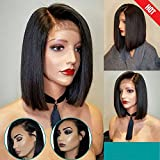 ARUKIHAIR 10A Short Bob Human Hair Lace Front Wig 136 Lace Wig Brazilian Virgin Glueless Silky Straight Hair Wigs with Baby Hair for Women Natural Color 12 Inch Right Parting 130 Density