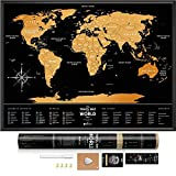 """Black Scratch Off World Map - Premium Edition - 31.5"""" x 23.6"""" - Rewritable Places I've Been Travel Map - Canadian Provinces Outlined – Made From Flexible Plastic to Last Longer by 1DEA.me"""