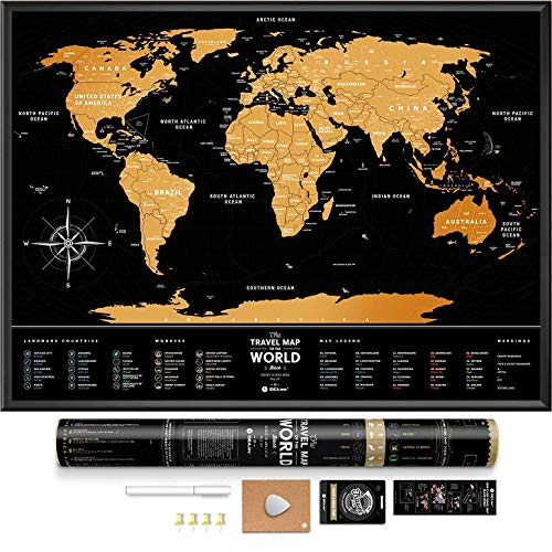 Black Scratch Off World Map - Premium Edition - 31.5