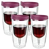 Southern Homewares Wine Tumbler - 10oz Insulated Vino Double Wall Acrylic With Merlot Red Drink Through Lid - Wine 2Go!, Set of 4