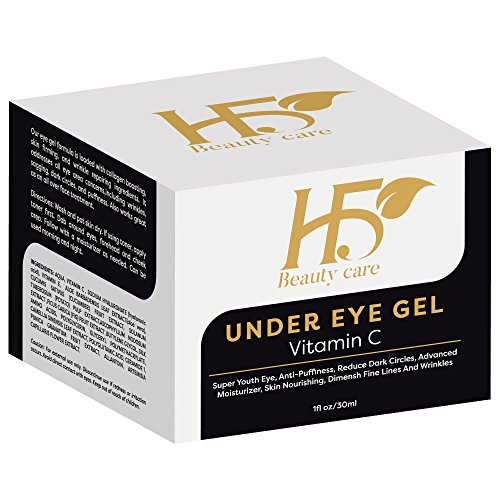 H5Beauty Vitamin C For Face,Eyes/Best Eye Bags Treatment With Hyaluronic acid,Cucumber/Under Eye Gel Reduces Puffiness,Wrinkles; Fine Lines, Safe Effective Dark Circles Removal,None Greasy,Organic/1Oz (Best Dark Circle Removal Cream)