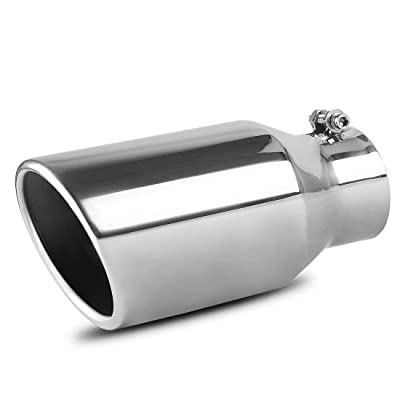 AUTOSAVER88 3 Inch Inlet Exhaust Tip, 3 x 4.5 x 9 Inches Chrome Polished Stainless Steel Exhaust Tip, Bolt On Design.: Automotive