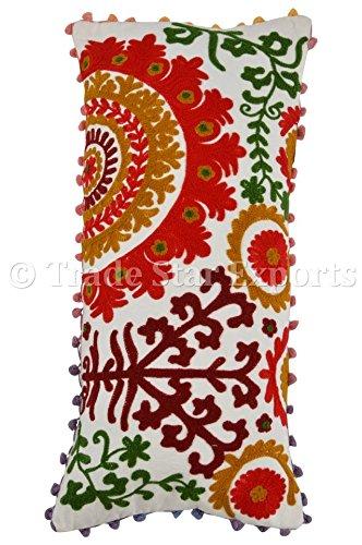 Amazon.com: Suzani bordado funda de almohada de algodón, pom ...