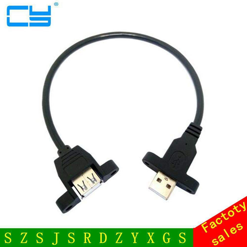 Computer Cables USB Male to Female Extension Double Head with Ear and m3 Screw Hole USB Cable 30cm 50cm Cable Length: 30CM