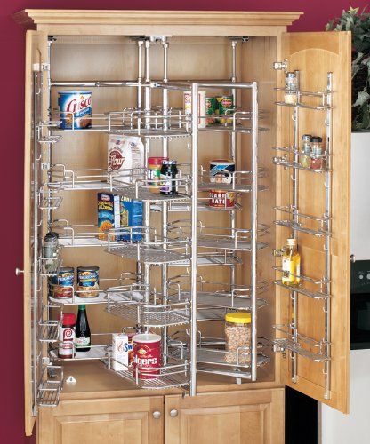 Rev-A-Shelf Chef's Roll-Out Pantry Door Storage Basket, Chrome