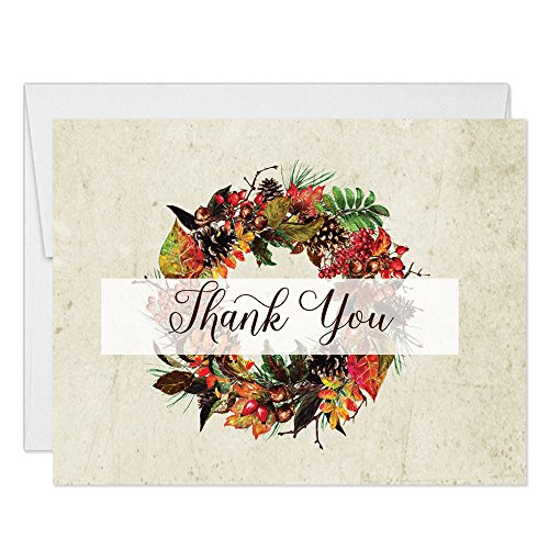 Thanksgiving Dinner Thank You Notecards with Envelopes (Pack of 100) Folded Holiday Meal Thank You Cards Fall Wreath Thanks Gracias See Matching Large Gathering Turkey Day Feast Invites Great Value