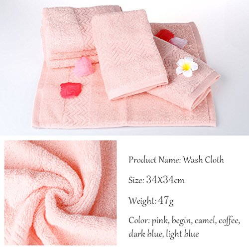 uxcell Luxury Hotel & Spa Soft Bath Towels, 100% Cotton 6 Piece Wash Cloths Set, 13.4 x 13.4 inch, Pink by uxcell (Image #5)