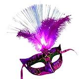 Clearance Sale Halloween Mask,Vanvler Women Venetian LED Fiber Mask Masquerade Fancy Dress Party Princess Feather Masks (Hot Pink)