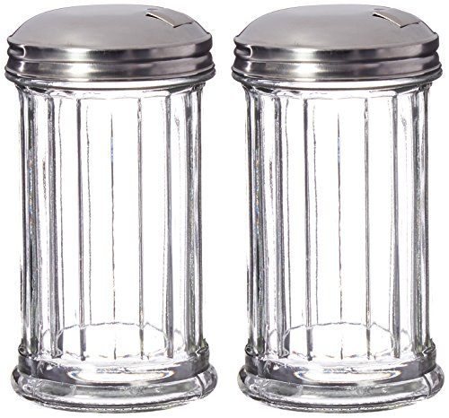 12 Ounce Glass Pourer - Update International Retro Style Sugar Dispenser/Pourer/Shaker, Glass Jar, Stainless Steel Pour-Flap Lid, 12 oz, Set of 2