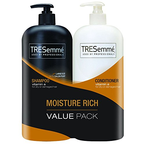TRESemm Shampoo & Conditioner - 44 oz. - 2 Pack For Dry/Damaged Hair Professional Formula Vitamin E Moisture Rich