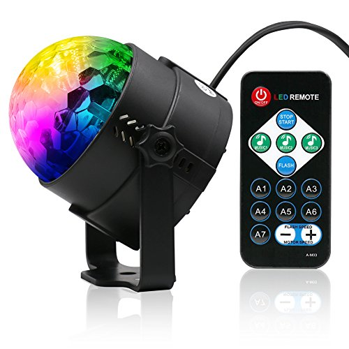 Party Light - Lunaoo Sound Activated LED Disco Ball Stage Light with Remote Control - RGB 7 Color Modes Strobe Lights - Add A Fun Touch to Dance Party Holiday Get-Together]()