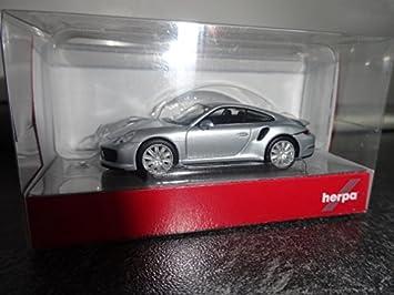 Herpa Miniaturmodelle GmbH Herpa 038614 – 002 Vehículo Porsche 911 Turbo, Rhodium Plata Metálico