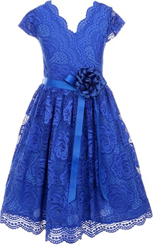 Flower Girl Dress Curly V-Neck Rose Embroidery AllOver for Little Girl Royal 6 JKS.2066