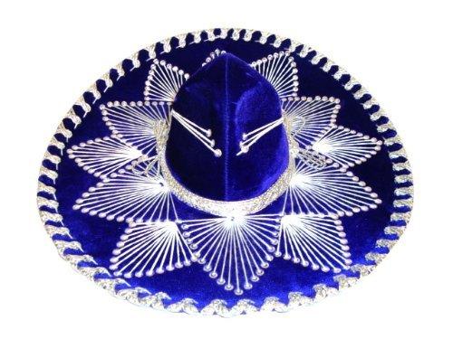 Blue Silver Mexican Charro Mariachi Hat Sombrero - Teen Size (Felt Sombrero)