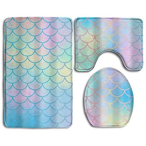 HOMESTORES Bathroom 3-Piece Mat Sets Pedestal Mat + Lid Toilet Cover + Bath Mat Doormat Non-slip Rug high-quality