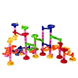 Image of Super Tower Set Marble Run Game - Junior Set - An Educational Building Block Set with 105 Pieces Including Translucent Tubes with 30 Glass Marbles