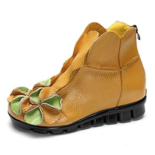 Socofy Damen Kurzschaft Stiefel, Klassische Ankle Boot Blume Boots Kurz Stiefel Handmade Anit-Rutsch Lederschuhe Leicht Bequem (Hersteller-Größentabelle IM Bild Beachten) Gelb
