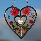Tiffany Lamp & Gift Factory Stained Glass Suncatcher For Windows I LOVE YOU Heart Suncatcher Silver Metal and Glass with Pressed Flower Heart and One Hanging Heart CharmsValentine's Day (4.254.75)