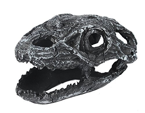 Viper Black Dragon Skull Reptile Hide Cave Aquarium Ornament Decor, Made From Premium Resin, Handcrafted To Create A Fossilized Appearance, Ideal for Terrariums and Aquariums Nomoypet