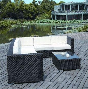 Rattan4Life Korsika Rattan Braun/Creme Polyrattan Gartenmoebel Sitzgruppe  Lounge Moebel Set Tisch Gartentisch Sessel Sofa
