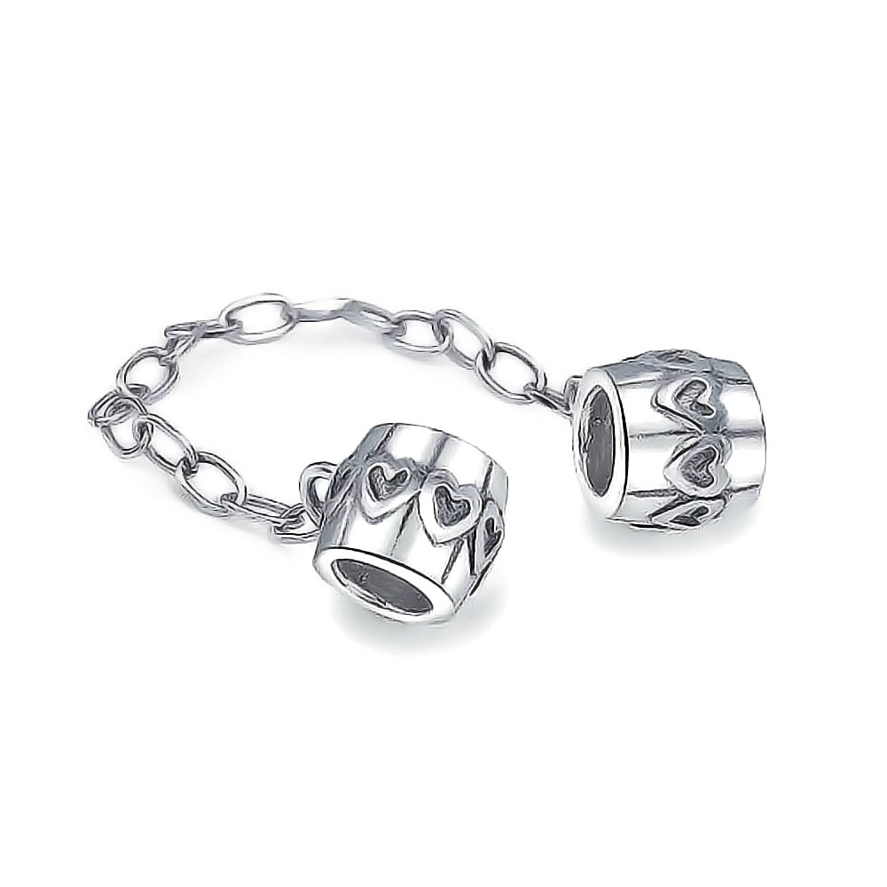 Bling Jewelry Safe Heart Love Chain Cuff Bead Charm .925 Sterling Silver PBX-HCL-38-SHINE-B