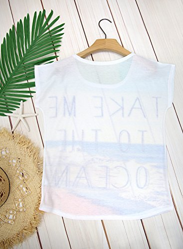 Futurino Women's Take Me to The Ocean Print Short Sleeve Tops Tee Shirt
