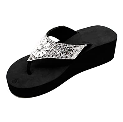 2d23e644f Top Cute Sexy Bling Slip-On Black Wedge High Rhinestone Flip Flop Sandals  for Sale