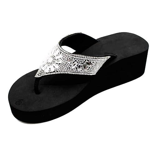 2a4e93ca03 Graduation & Mother's Day Sale Arla Black Platform Wedge Rhinestone Tstrap Flip  Flop for Women (Assorted Designs): Amazon.co.uk: Shoes & Bags