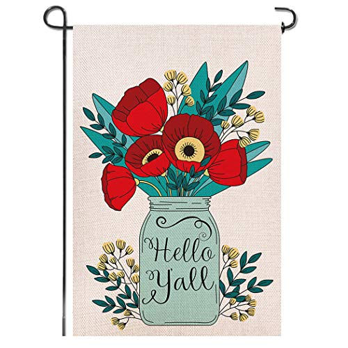 Shmbada Hello Y'all Mason Jars Flowers Burlap Garden Flag, Premium Fabric Double Sided, Welcome Spring Summer Floral Outdoor Decorative for Garden Yard Lawn, 12.5x18.5 Inch -