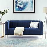 Sean Navy Velvet Tuxedo Loveseat - Chrome Y-Legs | Stainless Steel | Line Stitch | Modern | Contemporary | Inspired Home