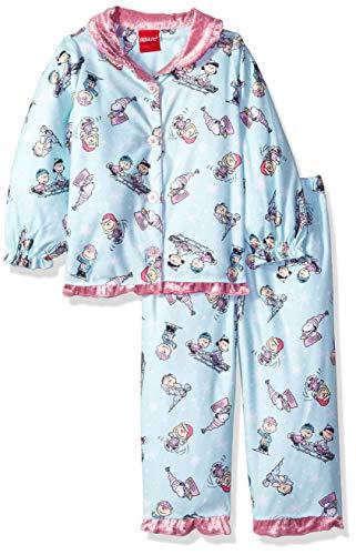 Peanuts Girls' Toddler Soft Knit Flannel Button Down Pajama Set, Aqua, 2T ()