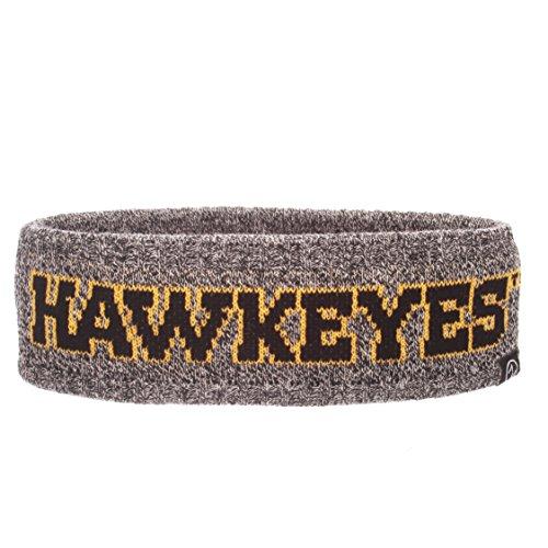 Haze Eye - Zephyr NCAA Iowa Hawkeyes Adult Women Halo Haze Knit Headband, Adjustable, Heathered Charcoal