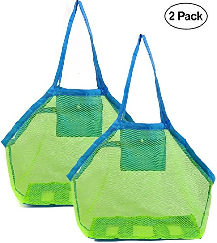 EXKOKORO Ultra Large 2 Pack Mesh Beach Bag Tote, Beach Toys Organizer Storage Bags, Toys & Shell Bag Stay Away from Sand The Beach