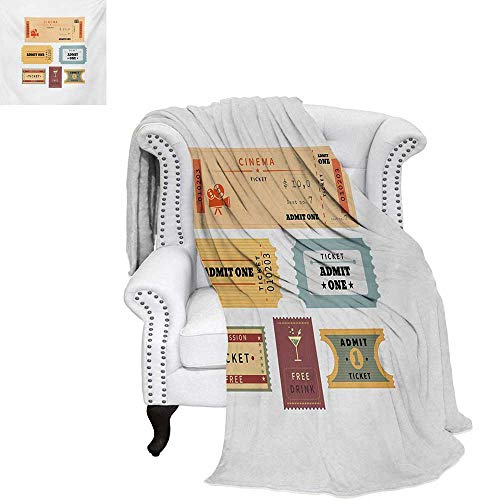 (warmfamily Movie Theater Oversized Travel Throw Cover Blanket Different Retro Tickets for Cinema and Other Events Vintage Illustration Super Soft Lightweight Blanket 60