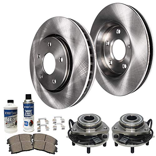 Detroit Axle - Both Front Wheel Bearing & Hub Assembly, Disc Brake Rotors, Ceramic Pads w/Hardware & Brake Cleaner Fluid for 98-05 Chevy S10 Blazer - [98-04 GMC Sonoma] - 97-01 Jimmy - [97-01 Hombre]