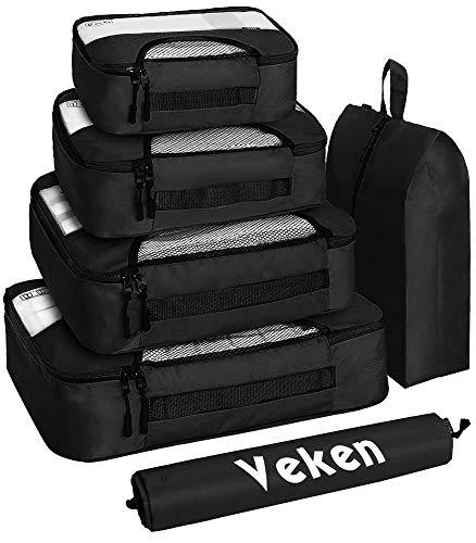 Veken 6 Set Packing Cubes, Travel Luggage Organizers with Laundry Shoe Bag, Black, XL-Large, Large, Medium, Small