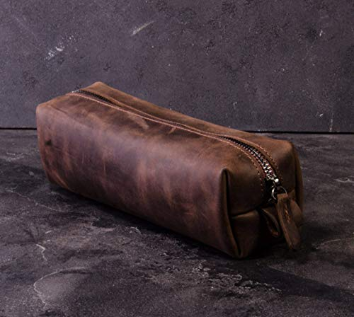 Groomsmen Gift Crazy Leather Anniversary Gift Fathers Day For Husband Wife Birthday Engagement Travel Cosmetic Bag Dopp Kit Bag Personalized Monogram Initials Engraving Mens Mothers Day Leather Gift by Enjoy The Wood