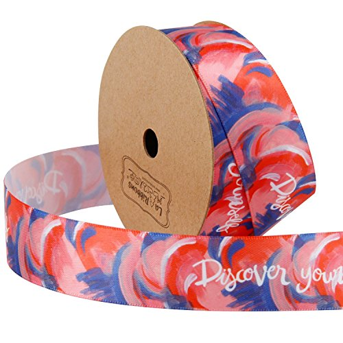 LaRibbons 1 Inch Watercolor Printing Satin Ribbons Continuous 10 Yards Roll, Discorver Yourself Double Face One Side, Purple