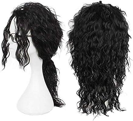 Menoqi Men Wigs Long Curly Black Hair Michael Jackson Costume Wigs Punk Metal Rocker Wigs With Ponytail Wig175 Amazon Com Au Beauty