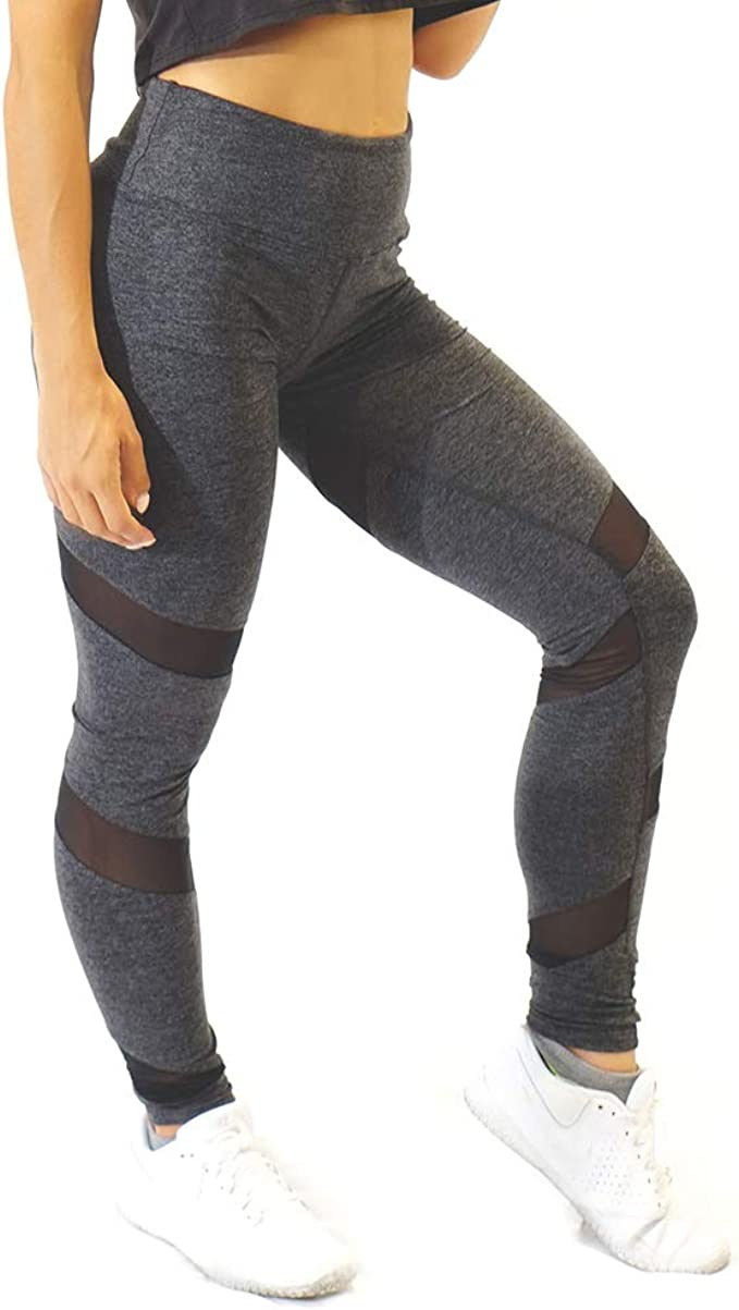 Attitude Apparel Black High Waisted Soft Lightweight Squat Proof Mesh Panel Yoga Workout Running Leggings for Women