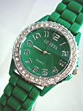 Mens and Womens Green Silicone Crystal Large Face Watch, Watch Central