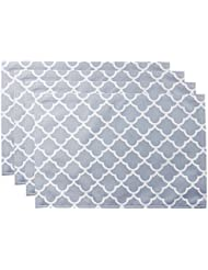ColorBird Geometric Series Trellis Place Mat Waterproof Spillproof Microfiber Fabric Table Doily Placemats, 13 x 19 Inch (Set of 4, Light Gray)