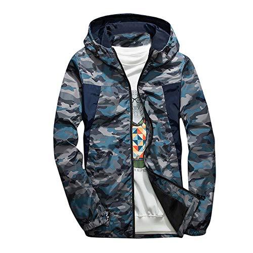 Sunhusing Men's Camouflage Stitching Print Pocket Hooded Soft Shell Jacket Outdoor Waterproof Windproof Coat -